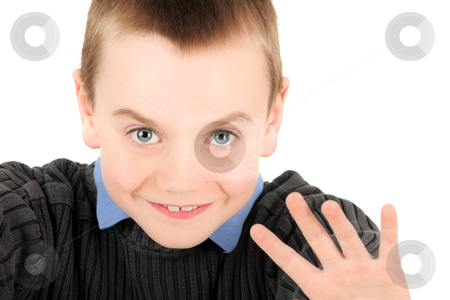 Young boy waving stock photo, Portrait of young boy waving, studio shot by Tom Prokop