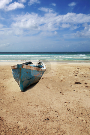 Old boat on beach stock photo, Old boat on beach of Punta Cana, Dominican Republic by Tom P.