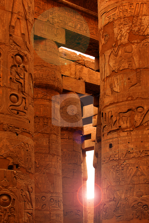 Sunlight shining in Karnak stock photo, Sunlight shining in Karnak Temple, Egypt by Tom P.