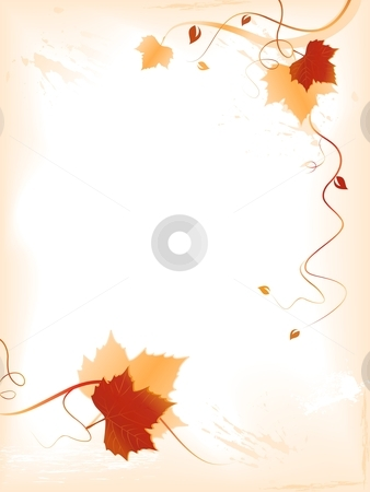 Abstract fall background with red golden foliage and swirls stock vector clipart, Abstract background with red golden autumn leaves and swirls at the bottom and the right hand side and space for your text. Use of blends, linear gradients, global colors. by Ina Wendrock