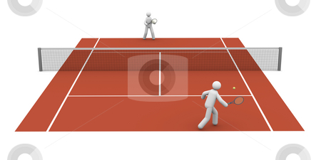 Tennis match stock photo, Tennis match on a clay court by Nuno Andre