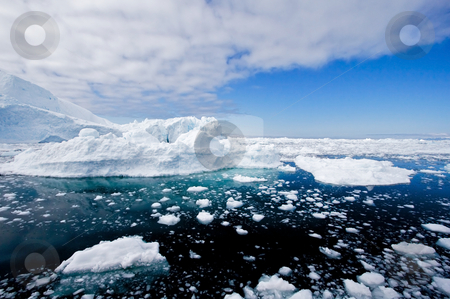 Iceberg #2 stock photo, Icebergs in a wide perspective in the fiord of Ilulissat, Greenland. by Anders Peter
