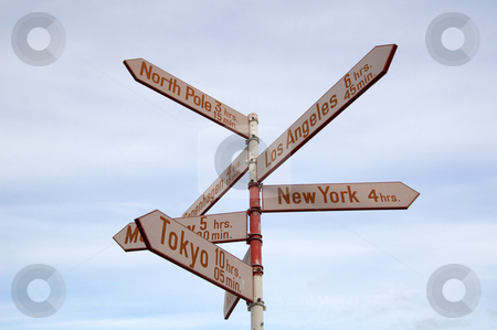 Roadsign stock photo, Roadsign with distance (in time by plane) to the worlds major cities from Kangerlussuaq, Greenland by Anders Peter