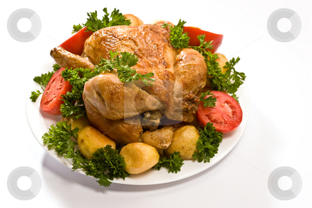 Grilled chicken stock photo, Food series: grilled chicken with tomatoes and potatoes by Gennady Kravetsky