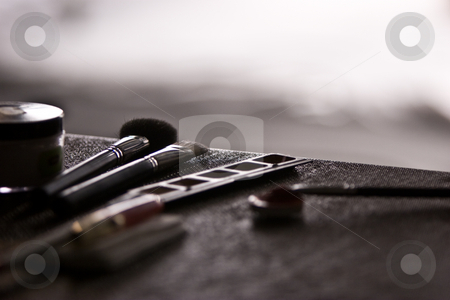 Make up  stock photo, Make up series: some make up equipment on the table by Gennady Kravetsky