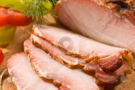 Ham stock photo, Food series: sliced ham on the wooden board by Gennady Kravetsky