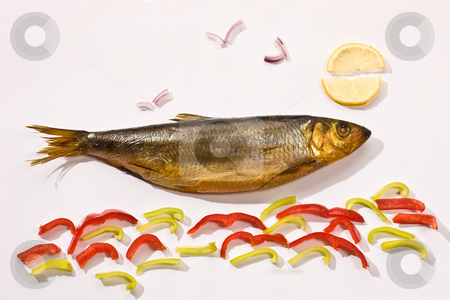 Smoked herring stock photo, Food series: funny picture of smoked herring by Gennady Kravetsky