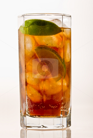 Cold tea stock photo, Drink series: cold tea with lime and ice by Gennady Kravetsky