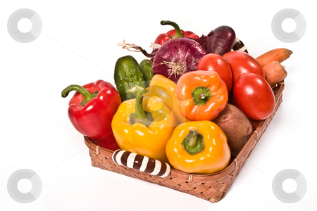 Vegetable`s basket stock photo, Food series: multifarious vegetables in the  basket by Gennady Kravetsky