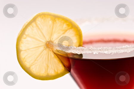 Cocktail stock photo, Drink series: red cockatil with shugar and lemon by Gennady Kravetsky