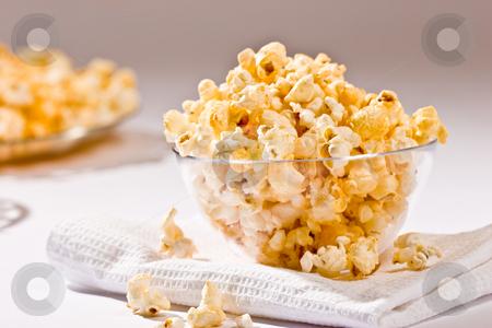 Popcorn stock photo, Food serias: popcorn on the glass bowl by Gennady Kravetsky
