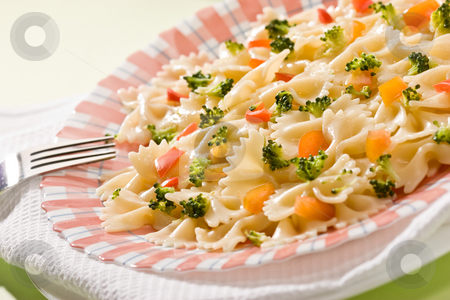 Cooked pasta stock photo, Macro picture of appetizing cooked pasta with vegetables by Gennady Kravetsky