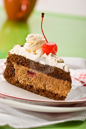 Chocolate cake stock photo, Slice of chocolate cake and cherry on the plate by Gennady Kravetsky