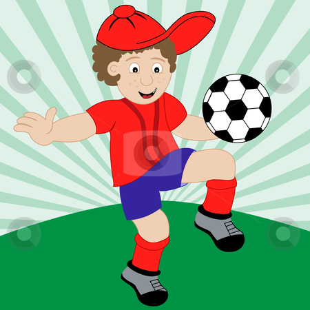 Boy Football Player Cartoon Character - Vector Illustration stock vector clipart, Young child cartoon character playing football wearing his soccer kit. by toots77