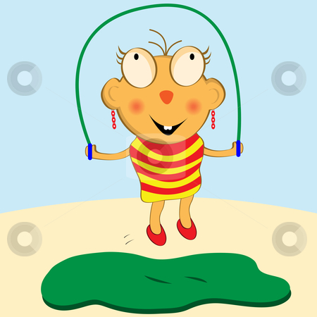 Girl Skipping Cartoon Character - Vector Illustration stock vector clipart, Cartoon girl having fun playing with her skipping rope by toots77