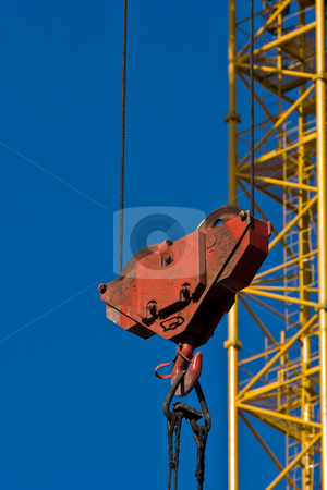 Crane stock photo, Building site series:  crane gibbet and hook by Gennady Kravetsky