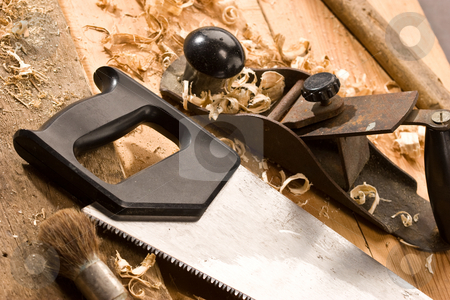Carpenters tool stock photo, Set of carpenters tool on tne wood and shavings by Gennady Kravetsky