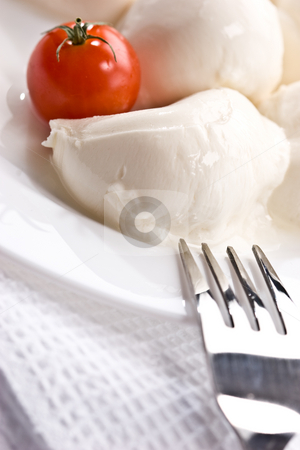 Mozzarella stock photo, Food series: mozzarella (soft cheese) and tomato by Gennady Kravetsky