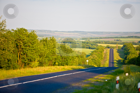 Summer road stock photo, View series: summer landscape with road on the hill by Gennady Kravetsky