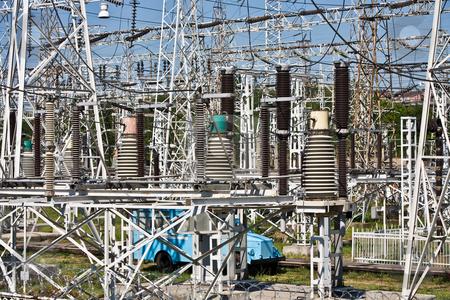 High-voltage substation stock photo, Technology series: high voltage  electric substation view by Gennady Kravetsky