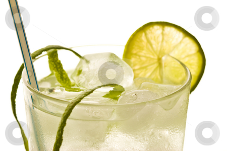 Cocktail stock photo, Drink series: cold drink with ice and lime by Gennady Kravetsky