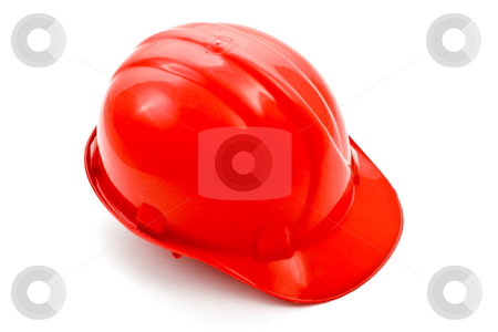 Helmet stock photo, Tools series: red helmet over white background by Gennady Kravetsky