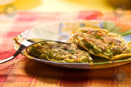 Pancake stock photo, Food serias: cabbage pancake on the plate by Gennady Kravetsky