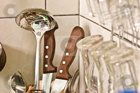 Kitchenware stock photo, Kithcen series: some kitchenware on the table by Gennady Kravetsky