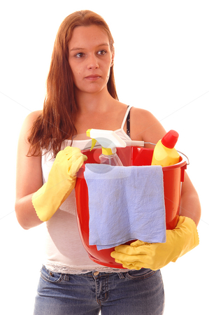 Woman housecleaning. stock photo, Young woman with a red peel, yellow rubber cloves and cleaning staff with long auburn hair in t-shirt and jeans is going to clean the house. by Horst Petzold
