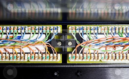 Unshielded twisted pair stock photo, Detail of UTP cables (unshielded twisted pair) on the backside of a patch panel by Corepics VOF