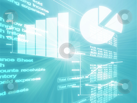 Spreadsheet business charts illustration stock photo, Illustration of Spreadsheet data and business charts in glowing wireframe style by Kheng Guan Toh