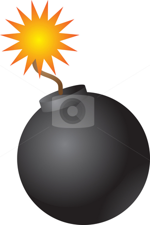 Round bomb stock photo, Old fashioned round black bomb with lit fuse by Kheng Guan Toh