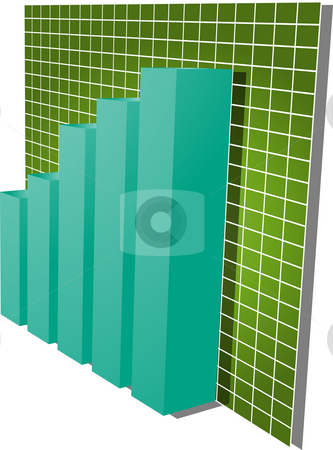 Financial barchart illustration stock photo, Three-d barchart and upwards line graph financial diagram illustration over square grid by Kheng Guan Toh