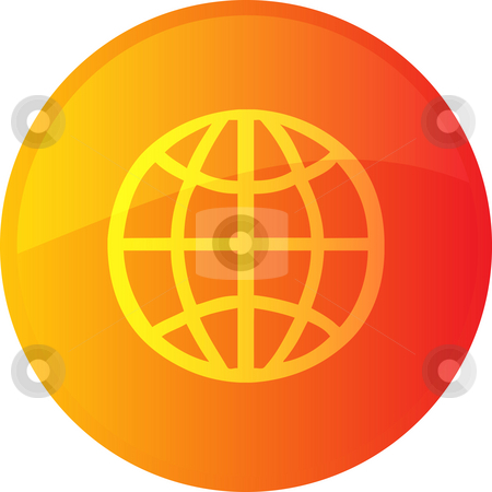 Globe navigation icon stock photo, Globe navigation icon glossy button, round shape by Kheng Guan Toh