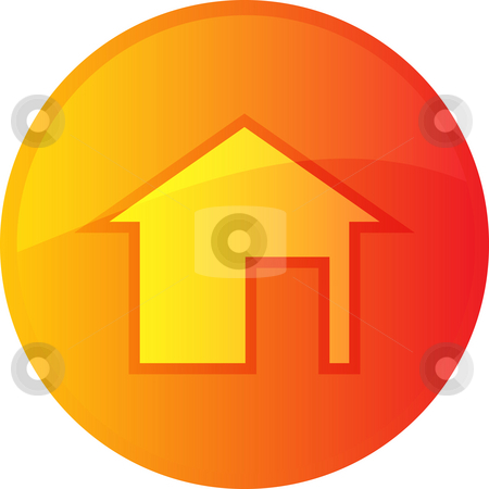 Home navigation icon stock photo, Home navigation icon glossy button, round shape by Kheng Guan Toh