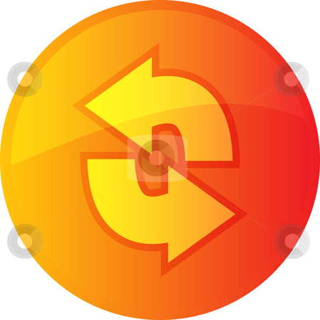 Refresh navigation icon stock photo, Refresh navigation icon glossy button, round shape by Kheng Guan Toh