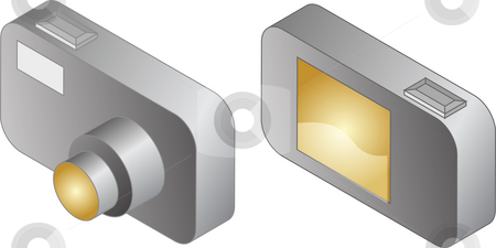 Digital compact camera illustration stock photo, Digital compact camera illustration, 3d isometric style, front and back view by Kheng Guan Toh