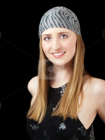 Portrait of young blond caucasian woman smiling stock photo, Young blond woman with green eyes portrait with scarf by Jeff Cleveland