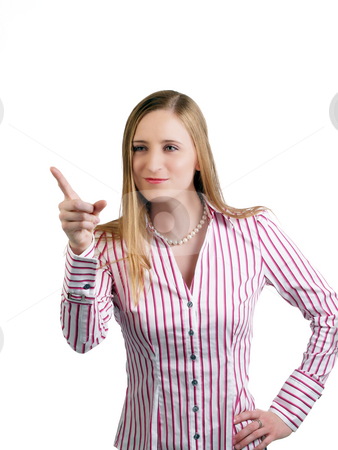 Young blond caucasian woman pointing finger scolding stock photo, Young woman pointing finger in a scolding manner by Jeff Cleveland