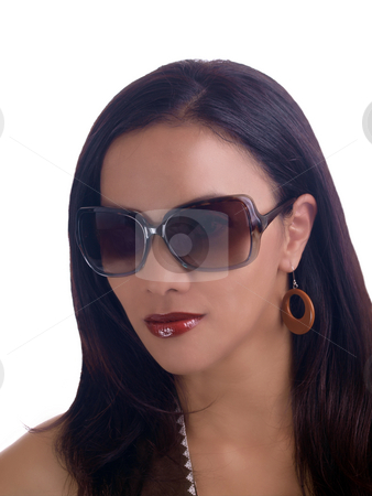 Portrait young hispanic woman wearing sunglasses stock photo, Young latina woman weaing sunglasses portrait by Jeff Cleveland