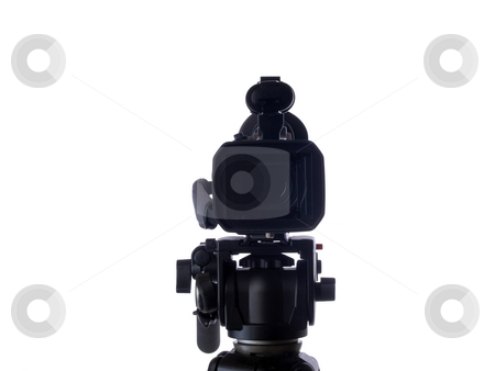 Video camera mounted on tripod facing viewer stock photo, Mid-range video camera on tripod facing viewer by Jeff Cleveland