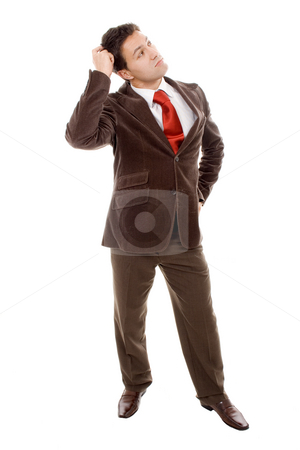 Happy business stock photo, Young man thinking white isolate by Marc Torrell