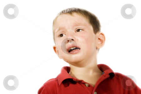 Child Crying stock photo, Stock image of child crying, isolated on white by iodrakon