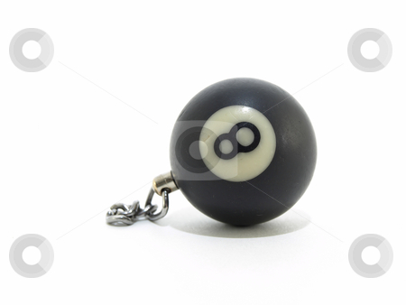 Eight Ball and Chain stock photo, A single black eight ball with a chain, isolated on a white background by Robert Gebbie