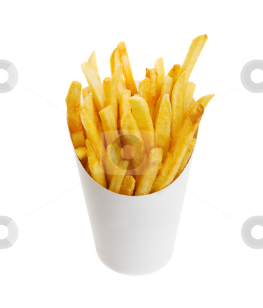 Chips stock photo, French fries on white with clipping path by Steve Mcsweeny