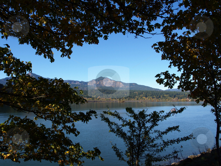 Framed Mountain in Distance stock photo, Washington State landscape image of lake or river with mountain in background. Framed close by trees on the banks. by Robert Gebbie