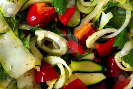 Salad from fresh vegetable with olive oil stock photo, Salad from fresh vegetable with olive oil, detail, close up by Juraj Kovacik