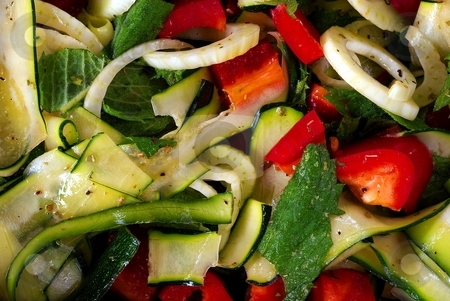 Salad from fresh vegetable stock photo, Salad from fresh vegetable with olive oil, detail, close up by Juraj Kovacik