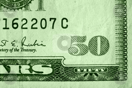 Fifty Dollar Bill stock photo, A close up on a fifty dollar bill. Shallow depth of field. by Travis Manley