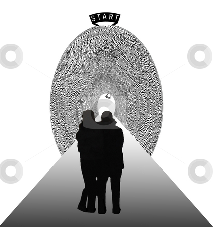 Relationship - a difficult way stock photo, A pair stands at the beginning of a maze tunnel. A relationship can be full of problems if you don't take the right way. by Reinhart Eo